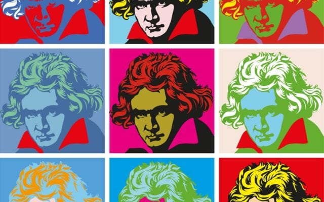 Images of Beethoven tiled in squares.